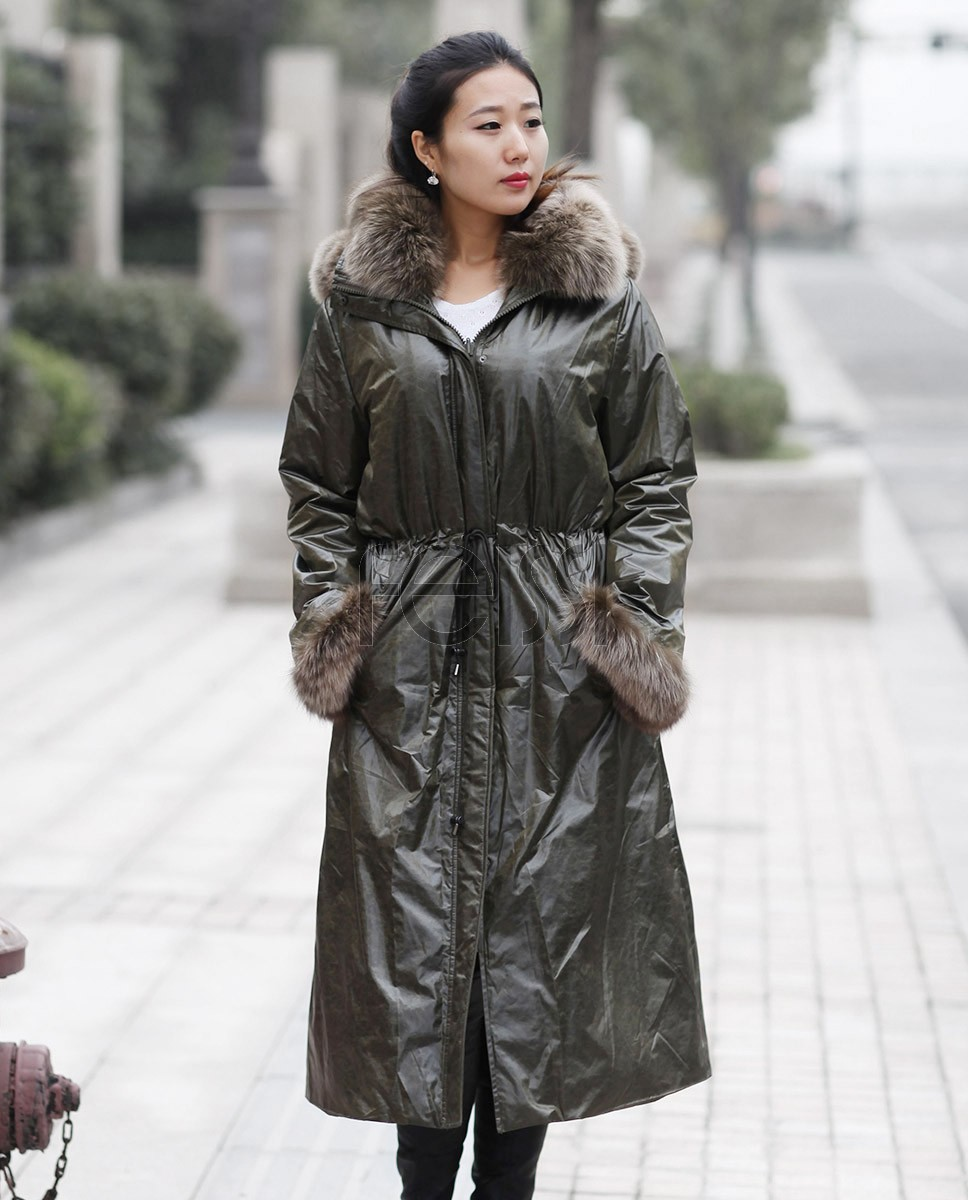 Women's Full Length Hooded Parka with Detachable Liner with Fox-Fur-Trimmed throughout_1