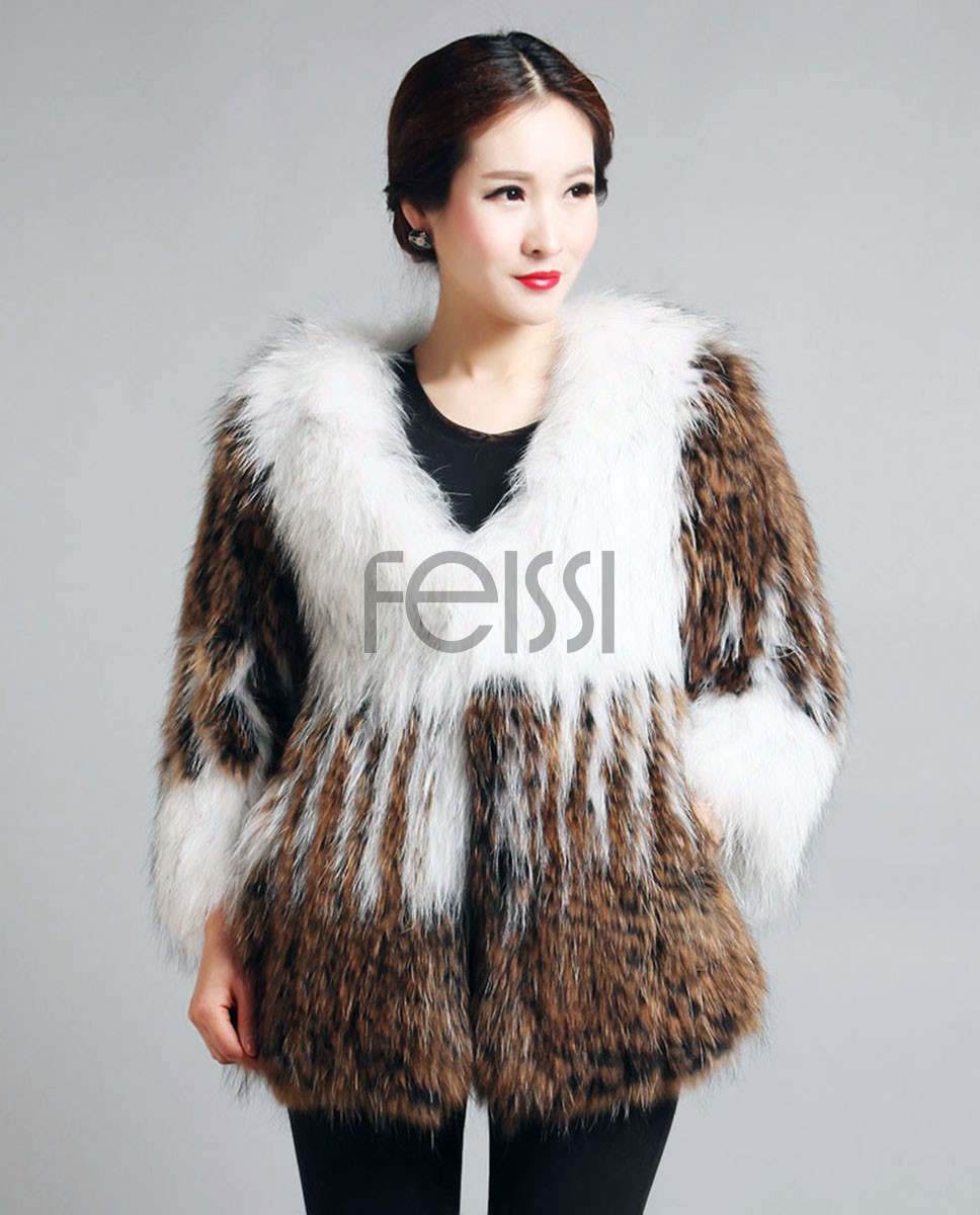 Women's Knitted Raccoon Fur Coat 594_1