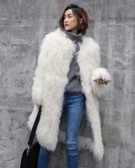 3-4 Length Tibet Sheep Fur Long Coat 011a