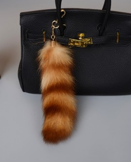 American Raccoon Fur Tail Pendant Bag Charm 909a
