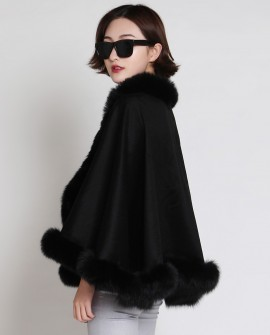 Cashmere Cape with Fox Fur Trim 880 Black b