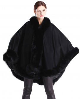 Cashmere Cape with Fox Fur Trim
