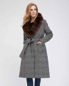 Cashmere Long Coat with Fox Fur Collar 235c
