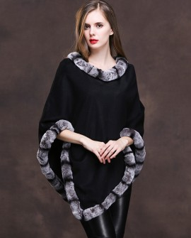 Cashmere Poncho with Rex Rabbit Fur Trim 140b1