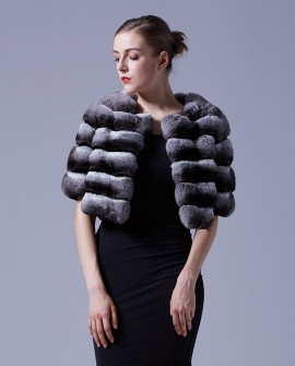 Chinchilla Fur Bolero Cape 027a