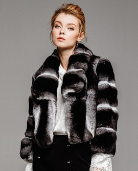 Chinchilla Fur Cropped Jacket 0061a