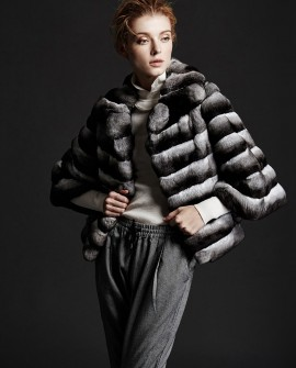 Chinchilla Fur Jacket 166a