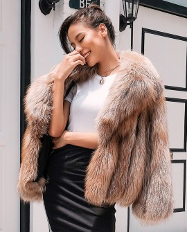 Cropped Chocolate Fox Fur Jacket