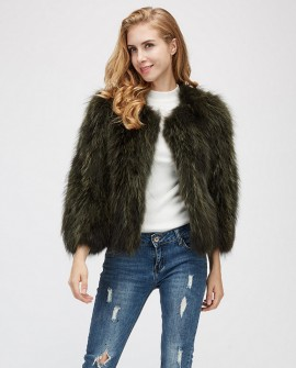 Cropped Raccoon Fur Jacket 972a