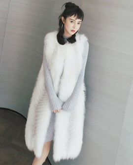 3/4 Length Cross Fox Fur Vest