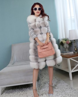 Cross Fox Fur Long Vest
