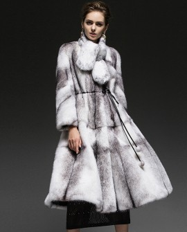 Cross Mink Fur Long Coat
