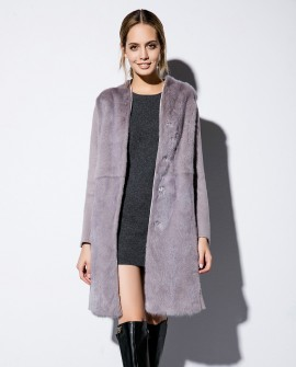 Double-faced Woolen Coat with Mink Fur Trim