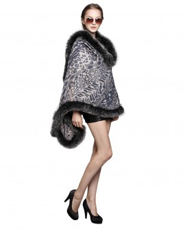 Wowen's Printed Cape with Fully Real Fox Fur triming side view