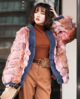 Fox Fur Bomber Jacket 0093a
