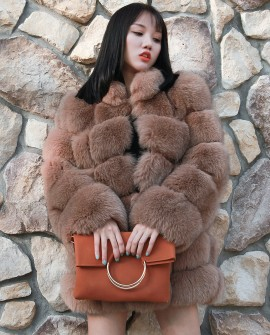 Fox Fur Coat - Coffee