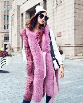 Fox Fur Long Vest 075a