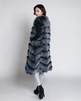 Fox Fur Long Vest 889 Blue-Frost 1