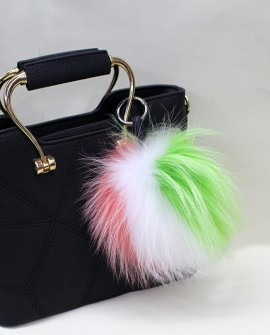 Fox Fur Pompoms Pendant Bag Charm - Multicolored 898a