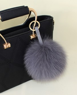 Fox Fur Pompoms Pendant Bag Charm 897 Gray