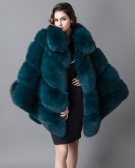 Fox Fur Poncho Coat 916a