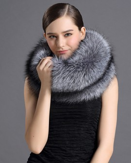 Fox Fur Scarf Neck Warmer Stole 817 Silver 1