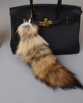 Fox Fur Tail Pendant Bag Charm 906a