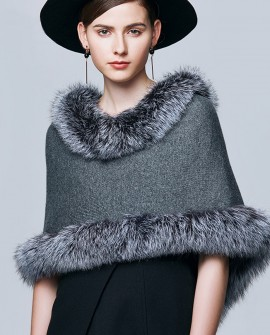 Fox Fur Trimmed Capelet