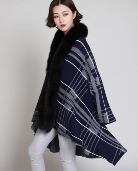 Fox Fur Trimmed Cardigan Cape 878 Midnight Blue 1