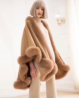 Fox Fur Trimmed Cashmere Cape