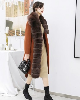 Fox Fur Trimmed Cashmere Long Belted  Coat 336a