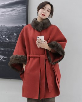 Fox Fur Trimmed Cashmere Poncho 338a