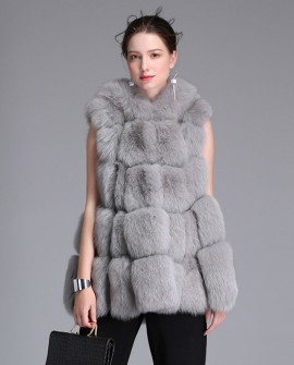 Hooded Fox Fur Vest