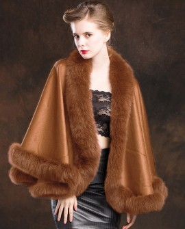 Fox Trimmed Cashmere Cape 138-Camel-a