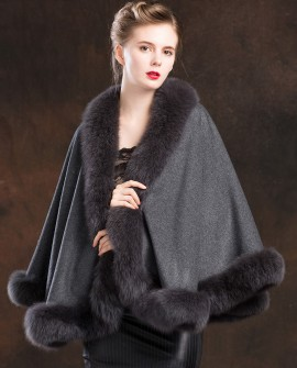 Fox Trimmed Cashmere Cape 138-Gray-a