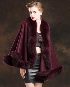 Fox Trimmed Cashmere Cape 138-Wine-a