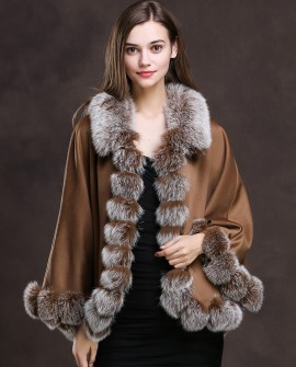 Fox Trimmed Cashmere Cape 139-Camel-1