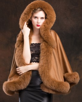 Fox Trimmed Cashmere Cape with Hood