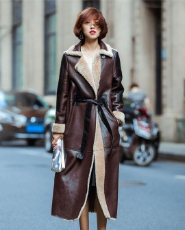 Full Length Shearling Sheepskin Coat 697 Coffee-1