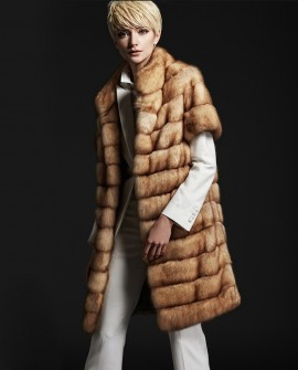Golden Sable Fur Long Vest 190a