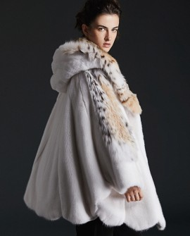 Hooded Cape Look Mink Fur Coat with Lynx Fur Trimming 0085a