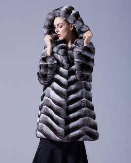 Hooded Chinchilla Fur Coat 047a