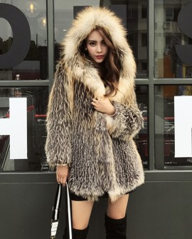 Hooded Fox Fur Knitted Jacket 929a