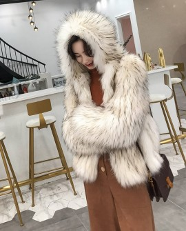Hooded Knitted Raccoon Fur Jacket 307a