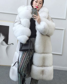 Hooded Long Fox Fur Coat 0049a