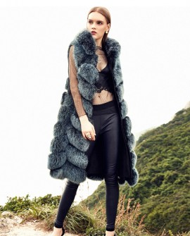 Hooded Long Fox Fur Vest 294a