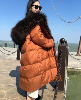 Hooded Raccoon Fur Trimmed Down-filled Wintercoat Long Parka 0025a