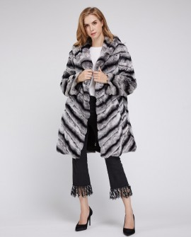 Hooded Rex Rabbit Fur Coat 215a