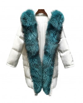 Hooded Silver Fox Fur Trimmed Down-filled Wintercoat Long Parka 0024a