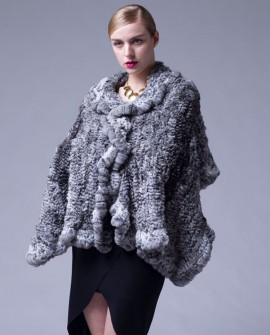 Knitted Chinchilla Fur Cape 039a
